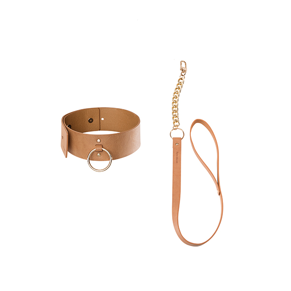 Maze Wide Choker With Leash - Brown