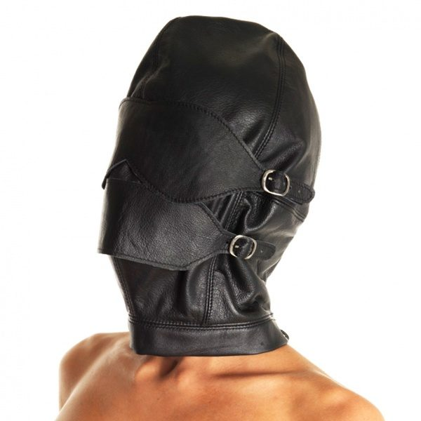Rimba - Leather Full Face Mask With Detachable - Gag - Mouth Piece - Blinkers
