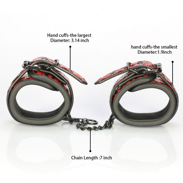 Being Fetish Bondage Red Diamond Faux Leather Wrist Cuffs