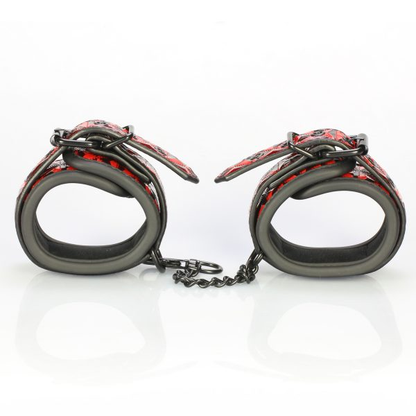 Being Fetish Bondage Red Diamond Faux Leather Ankle Cuffs