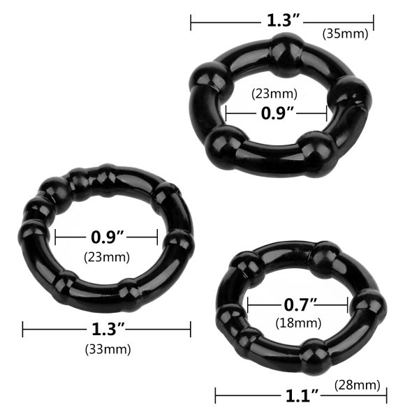 Triple Beaded Cock Ring Set