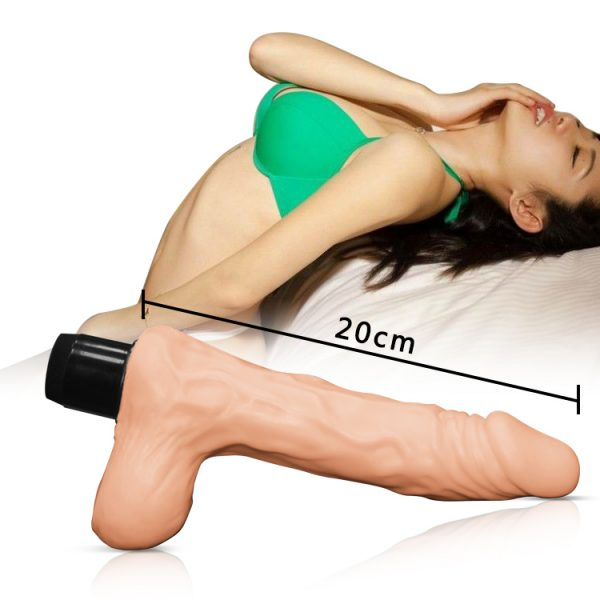8 Inch Real Feel Cyberskin Ballsy Vibrator Dildo