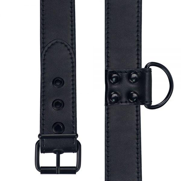 Bondage Fetish Black Matt Collar With Leash