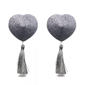 Silver Reusable Glitter Heart Tassel Nipple Pasties