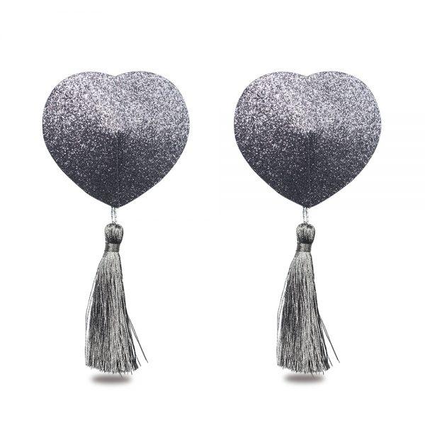 Silver Reusable Glitter Heart Tassel Nipple Pasties