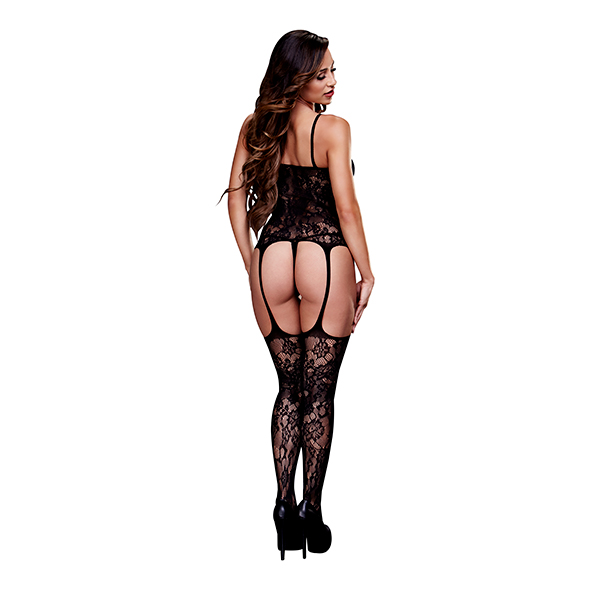 Baci Lingerie Corset Front Fishnet Suspender Bodystocking One Size
