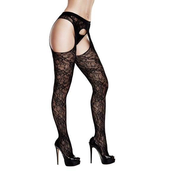 Baci - Crotchless Lace Suspender Hose Queen Size