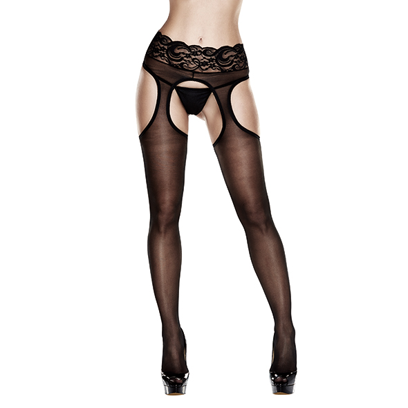 Baci - Sheer Crotchless Lace Top Suspender Hose Queen Size