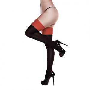 Baci - Baci - Black Opaque Red Cuban Heel Thigh Highs Queen Size