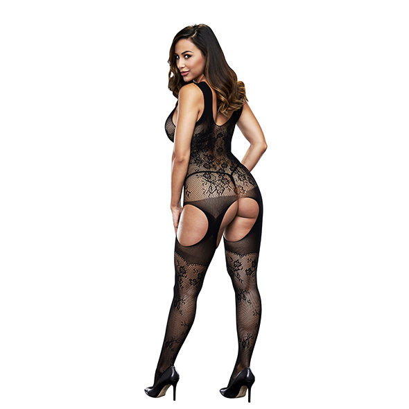 Baci Crotchless Jacquard Bodystocking One Size